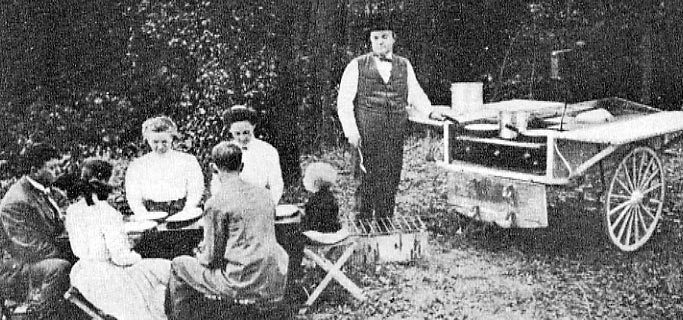 A 1909 'picnic tender' complete with refrigerator, stove and folding table.