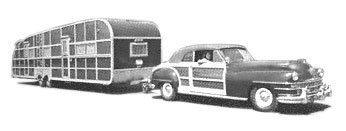 The Shoreland Tandem Town and Country, made by Streamlite, was a great attraction at the 1947-48 Sport & Travel Show in Chicago, Illinois. Designer Donald Hamm styled the thirty-footer to match Chrysler's Town and Country woodie.