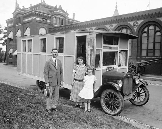 1924 Family Displaying Custom Chevrolet Motorhome in Texas.